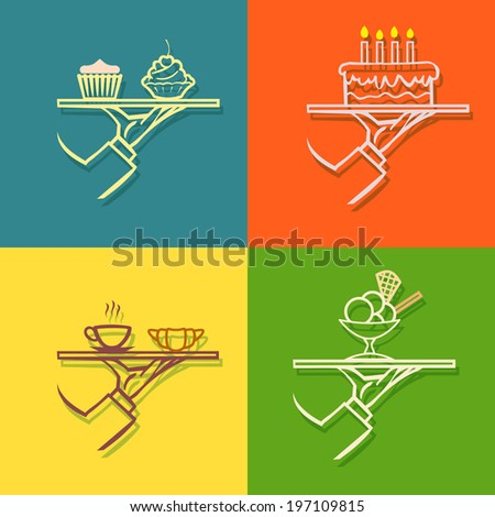 vector waiter's hand with tray and,flat design icon set - stock vector