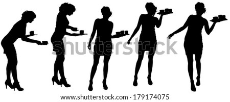 Vector waiter silhouette on a white background.