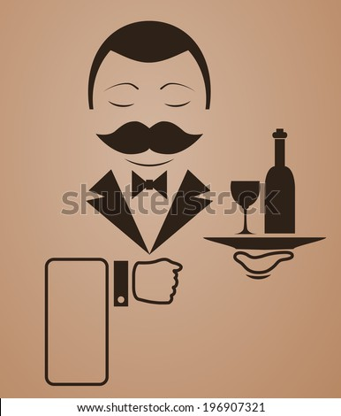 Vector waiter with mustache icon - stock vector