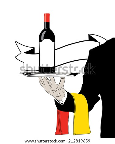 vector waiter with wine and spain flag - stock vector