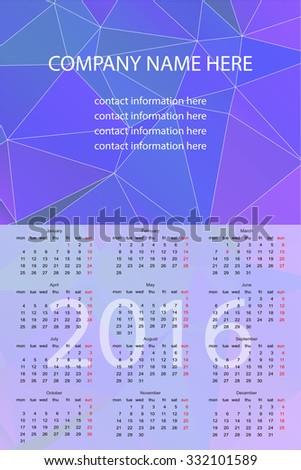 Vector Wall Calendar 2016. Vector Template with Abstract Background. Week Starts Monday.