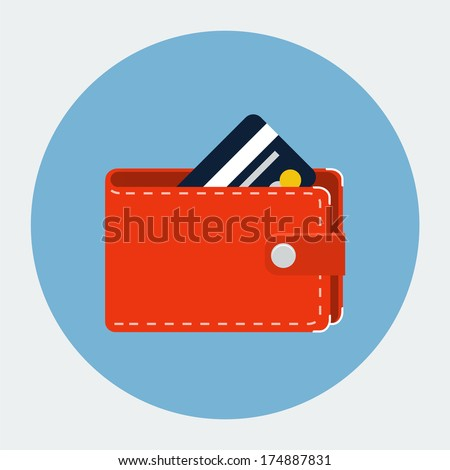 Vector wallet with card icon - stock vector