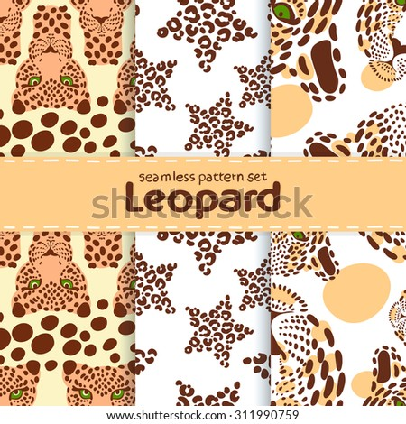 vector Wallpaper of a set of seamless pattern with the image of the leopard print