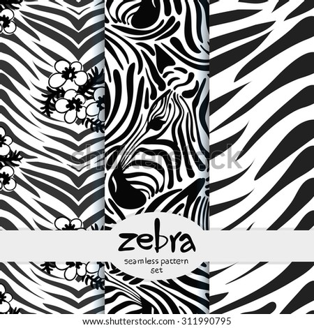 vector Wallpaper of a set of seamless pattern with the image of the zebra - stock vector