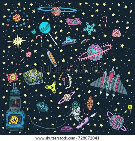 Vector Wallpaper Pattern Aliens Stars Planets Stock Vector