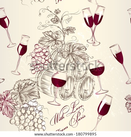 Vector  wallpaper pattern  with wine and grapes - stock vector