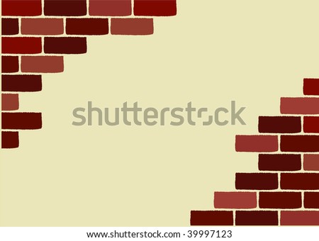 vector wallpaper with broken brick wall, bricks are with a rough surface - stock vector
