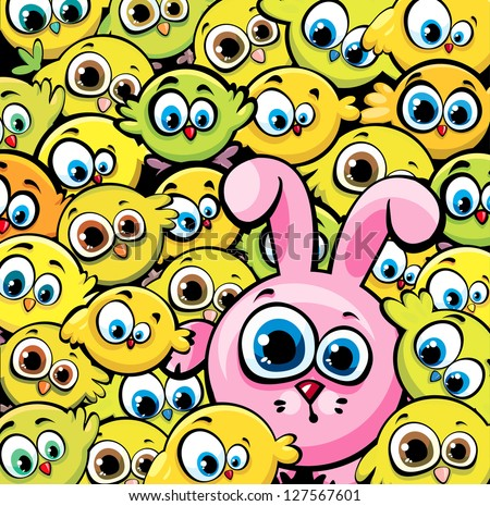 Vector wallpaper with cartoon funny yellow chickens and pink bunny. - stock vector