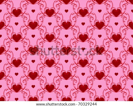 Vector wallpaper with hearts texture for different uses - stock vector