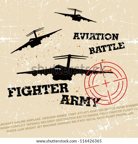 Vector War Theme Background / Fighter Army - stock vector