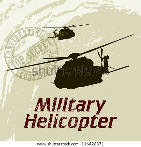 Vector War Theme Background / Vector Helicopter / Flying Academy Emblems - stock vector