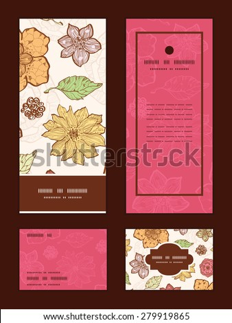 Vector warm fall lineart flowers vertical frame pattern invitation greeting, RSVP and thank you cards set - stock vector