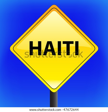 Vector warning Haiti earthquake disaster sign (us style) with sky in background