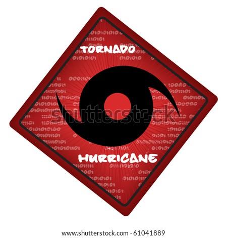 vector warning hurricane or tornado sign - stock vector