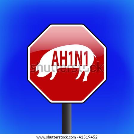 vector warning swine flu (ah1n1 or h1n1) stop sign with sky in background - part 2 - stock vector