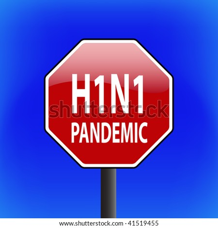 vector warning swine flu (ah1n1 or h1n1) stop sign with sky in background - part 3 - stock vector