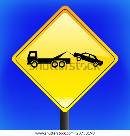 vector warning tow away zone sign with sky in background - stock vector