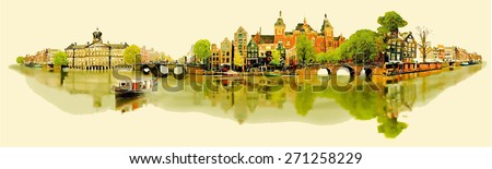 vector water color illustration panoramic amsterdam view - stock vector