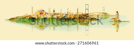 vector water color illustration panoramic istanbul view - stock vector