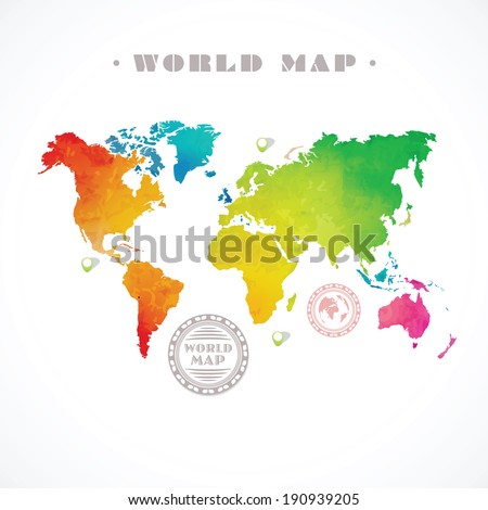 Vector water-colour world map and info graphic elements on white background - stock vector