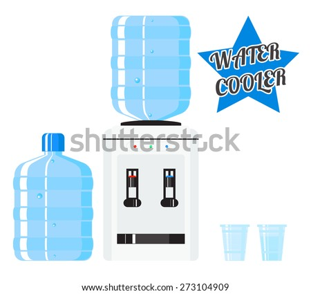 Vector water cooler. Refreshment and bottle office, plastic and liquid - stock vector