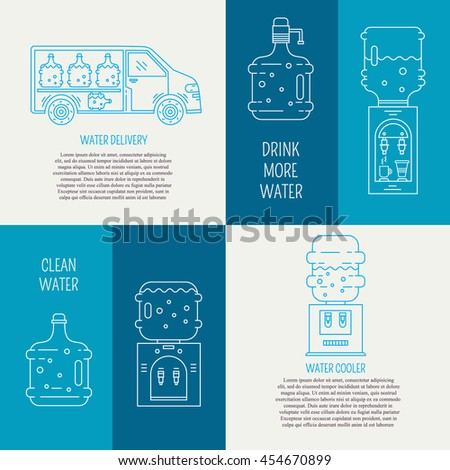 Vector water delivery service banners and flyers. Water bottles, water coolers, water delivery car. Line symbols with text and inspirational quote. - stock vector