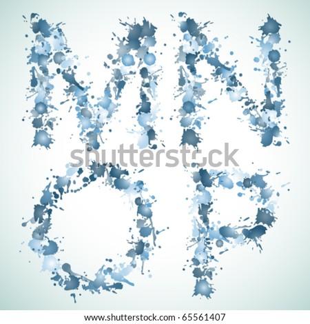 Vector water drop alphabet - stock vector