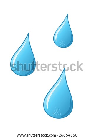 vector water drops on white background - stock vector