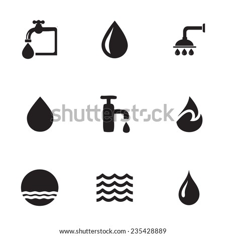 Vector water icons set on white background - stock vector