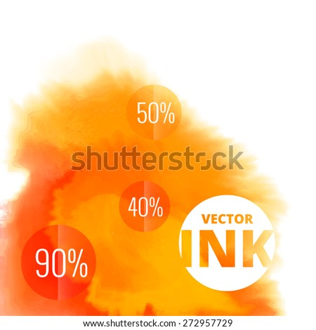 vector water ink splash burst in orange color design illustration - stock vector