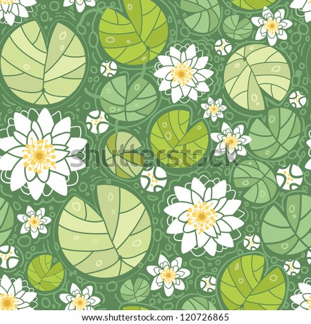 Vector water lilies seamless pattern background with hand drawn flowers and leaves. - stock vector