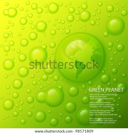 Vector water splash with globe of the world in drop on lime green background. - stock vector