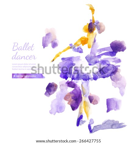 Vector watercolor abstract ballerina. Traced illustration of a ballet dancer on a white background. Hand drawing. - stock vector