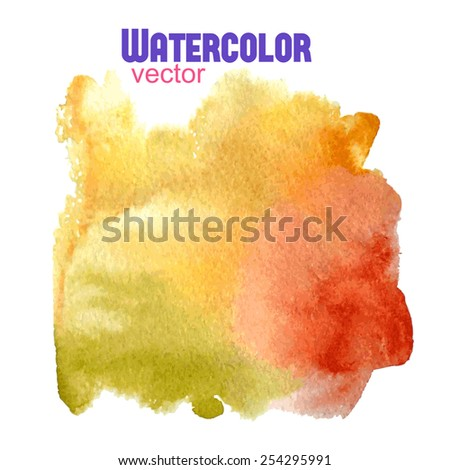 Vector watercolor abstract orange yellow red green  square shape