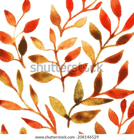 vector watercolor autumn leaf background for book illustration, textile, scrapbooking, wrapping, invitation, card, brochure template - stock vector