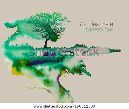 Vector Watercolor Background for Text - stock vector