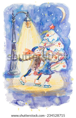 Vector watercolor background with Christmas tree and skating happy smiling love couple under lantern light in night - stock vector