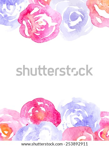 Vector Watercolor Background with Pink and Lilac Roses and Place for Text - stock vector
