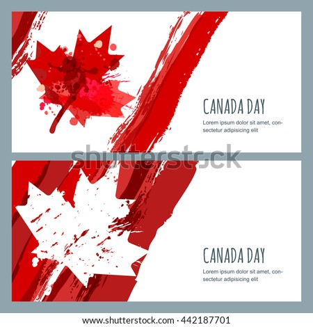 Vector watercolor banners and backgrounds. 1st of July, Happy Canada Day. Watercolor hand drawn canadian flag with maple leaf. Design for greeting card, holiday banner, flyer, poster.  - stock vector