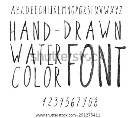 Vector watercolor black alphabet and numbers. Hand-drawn stylish slim font.  - stock vector