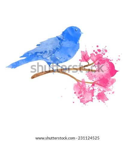 vector watercolor blue bird on branch - stock vector
