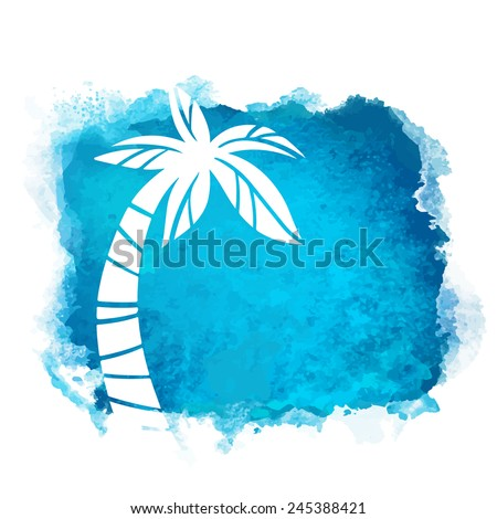 Vector watercolor blue grunge geometric square paint stain with splash and hand drawn coconut palm tree closeup white silhouette. Painted frame design. Bright colors. Abstract art