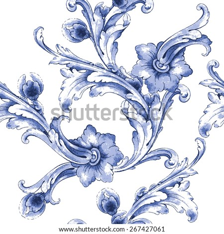 Vector watercolor blue texture pattern.Seamless pattern can be used for wallpaper,pattern fills,web page background,surface texture.