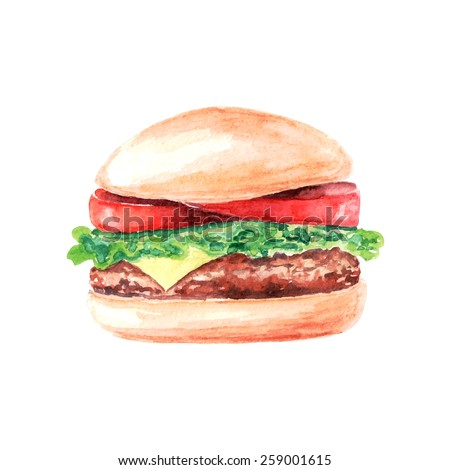 vector watercolor burger. It can be used for card, poster. sticker, menu, recipe - stock vector