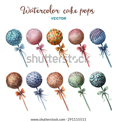 Vector watercolor cake pops set. Sweet design elements. - stock vector