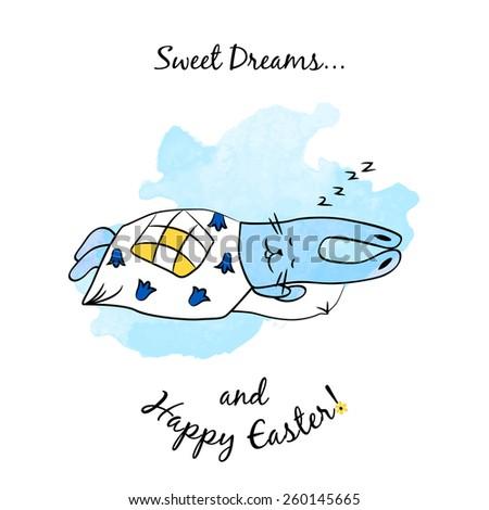 Vector watercolor cartoon sleeping blue Easter Bunny  - stock vector