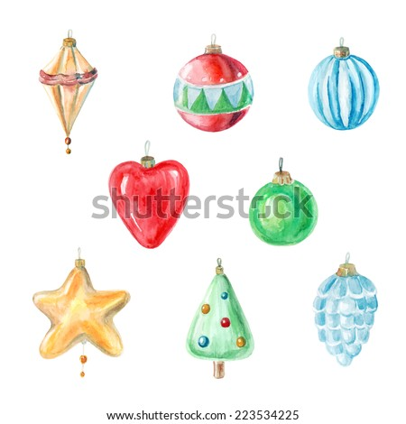 vector watercolor Christmas and new year decorations. It can be used for wrapping paper, card, postcard, poster, banner. - stock vector