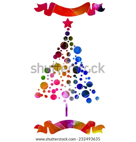 vector watercolor Christmas trees with ribbons - stock vector
