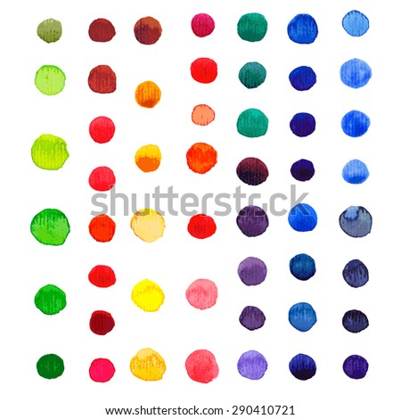 Vector watercolor circles background. Retro hand drawn circles ornament. Round shapes pattern. Round shapes. Painted ornament. Grunge colorful rounds shapes. - stock vector