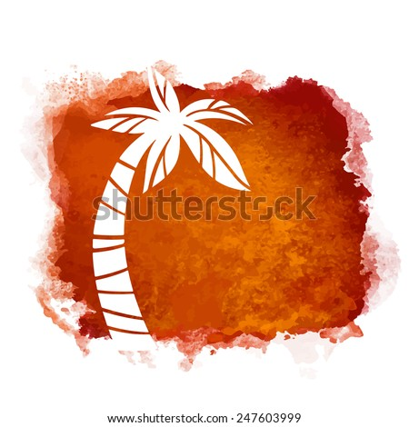 Vector watercolor coffee grunge geometric square paint stain with splash and hand drawn coconut palm tree closeup white silhouette. Painted frame design. Bright colors. Abstract art
